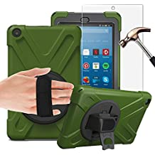 Gzerma Fire HD 8 Case 2017 for Kids with Fire HD 8 Screen Protector 7th Generation, 3in1 Heavy Duty Protective Cover with Hand Strap, Stand Holdler for New Amazon Kindle Fire 8 Tablet, Green 2