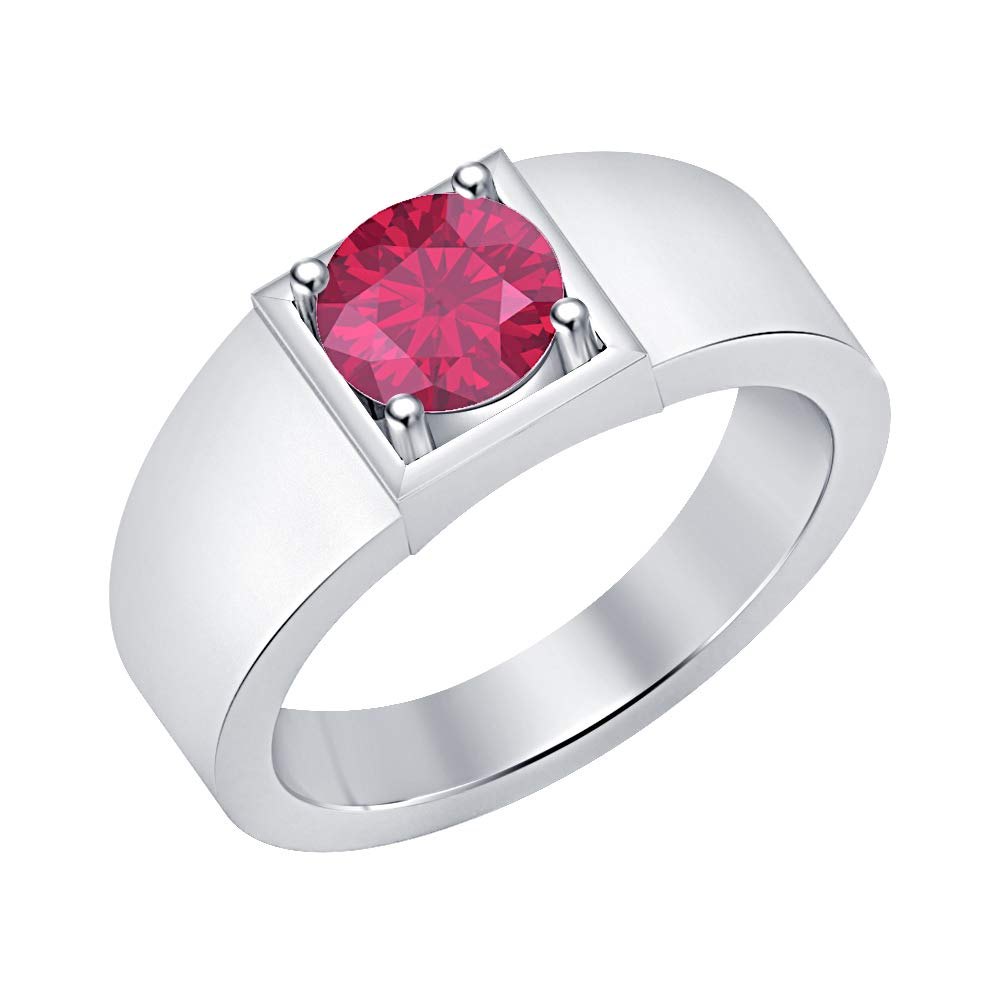 RUDRAFASHION Solitaire 14K White Gold Over Sterling Silver Round Shaped Pink Ruby Mens Wedding Band Engagement Ring