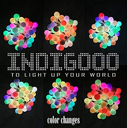 7 Color-Change Multi Color INDIGOOO/'S 2 Packs, RGB Multicolor Waterproof Ball Lights Battery Powered String Lights for Party,Garden,Bedroom,Christmas,Wedding, INDIGOOO 14.8ft RGB 40LED String Lights