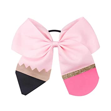 7acbbbf2d0 Amazon.com : Pencil Print Glitter Cheer Bow Back To School Barrettes ...