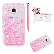 SKYXD Galaxy Grand Prime Liquid Case,Luxury Floating Flowing 3D Novelty Design Bling Shiny Sparkle Pink Heart Glitter Plastic Pattern Hard Back Cover Protective Skin Cell Phone Cases For Samsung Galaxy Grand Prime G530 + 1 x Touch Screen Stylus + 1 x Dust Plug