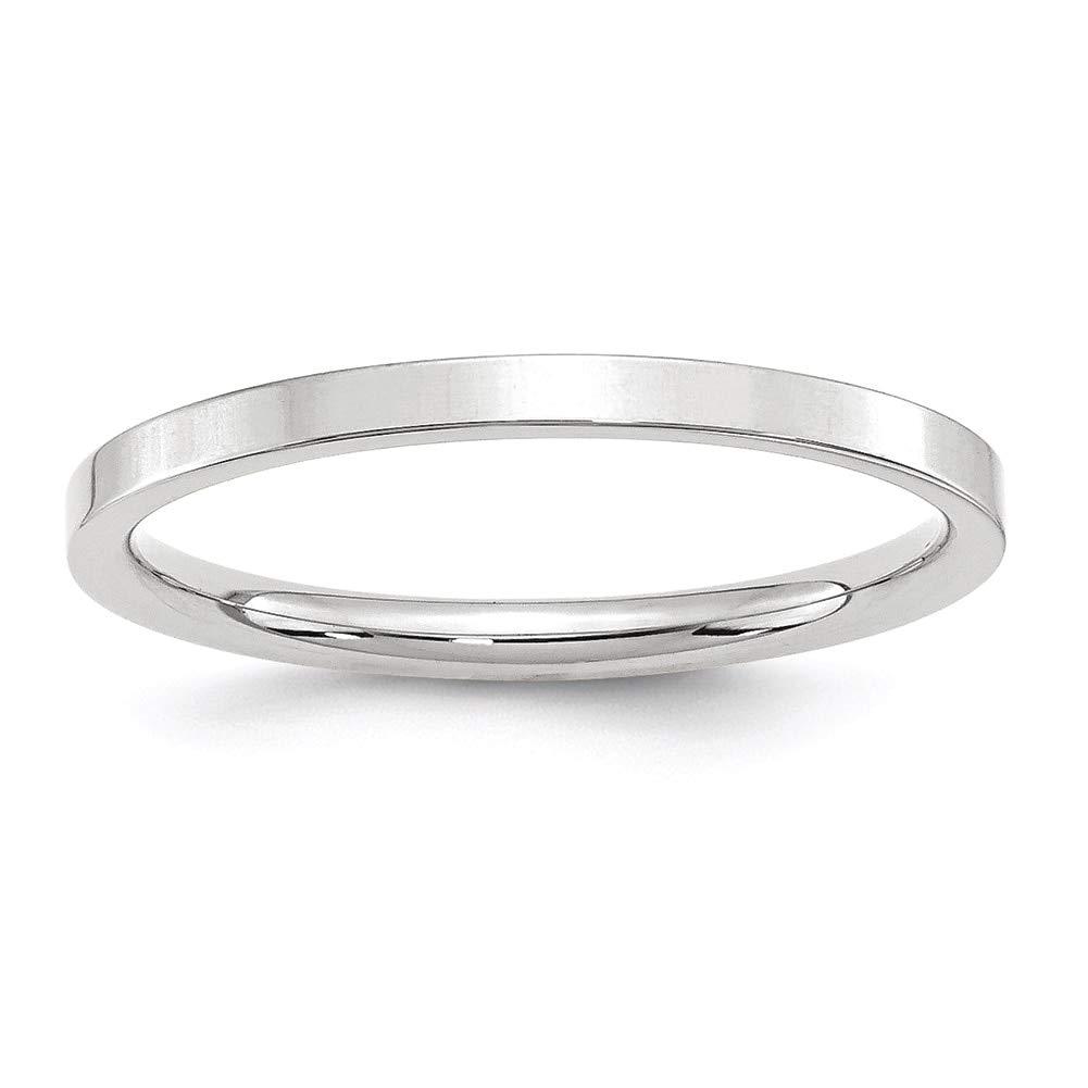 Lex /& Lu 14k White Gold 2mm Standard Flat Comfort Fit Band Ring