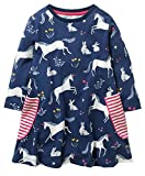 GSVIBK Kid Girls Cotton Dress Baby Casual Short Sleeve Dress Toddler Dinosaur Dress Cartoon Dress Horse Blue 18M 698