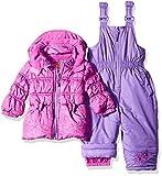 Pink Platinum Baby Girls' Infant Tonal Floral Print Snowsuit, Purple Flower, 18 Months