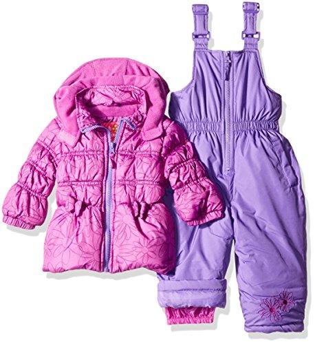 Pink Platinum Girls' Infant Tonal Floral Print Snowsuit, Purple Flower, 12 Months