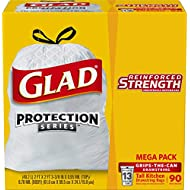 Glad Protection Series Tall Kitchen Drawstring Trash Bags - 13 gallon - 90Count