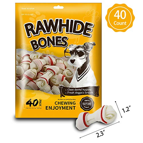 MODONE Rawhide for Dog,Dog Rawhide Bones,Dog Treats, 100% Nature Pressed Dog Bone Rawhide Free Dog Chew for Small Dog and Puppy(Mini 2.5