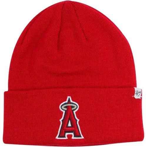 '47 MLB Los Angeles Angels Raised Cuff Knit Beanie, One Size, Red