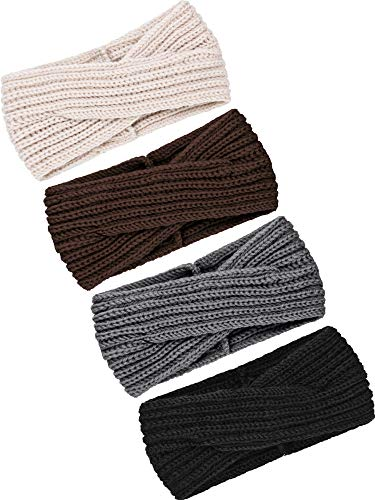 TecUnite 4 Pieces Chunky Knit Headbands Braided Winter Headbands Ear Warmers Crochet Head Wraps for Women Girls (Color Set 14)