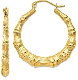 IceCarats 14k Yellow Gold Bamboo Hoop Earrings Ear Hoops Set For Women