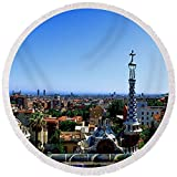 Pixels Round Beach Towel With Tassels featuring ''City Viewed From Park Guell, Barcelona'' by Pixels