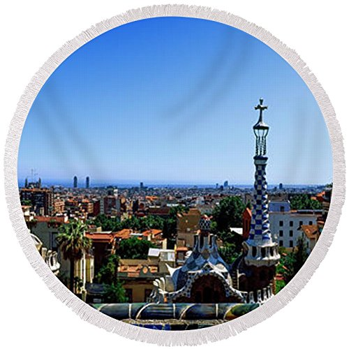 Pixels Round Beach Towel With Tassels featuring ''City Viewed From Park Guell, Barcelona'' by Pixels by Pixels