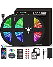 10M WiFi LED Strip Lights RGB Strips 32.8ft Tape Light 300 LEDs 5050 Waterproof Music Sync Color Changing + 24Key Remote Control Decoration for Home TV Party