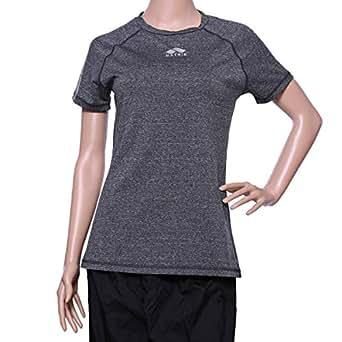Matris Grey Polyester Round Neck T-Shirt For Women