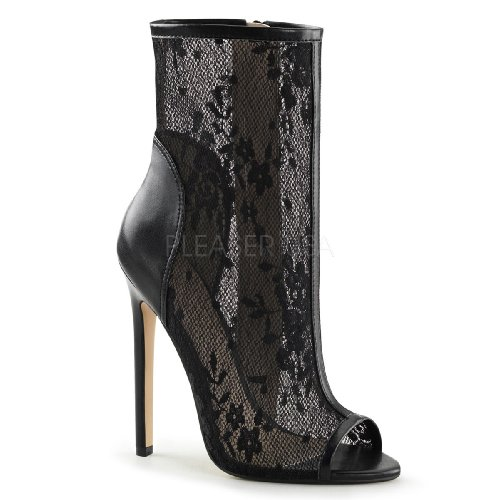 Fabulicious 5 Heel Open Toe Ankle Bootie, Side Zip Mens Boots Blk Pu-lace