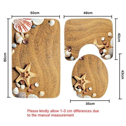 Wondertify Bath Mat,Beach,Sea Shell Starfish Bathroom Carpet Rug,Non-Slip 3 Piece Bathroom Mat Set