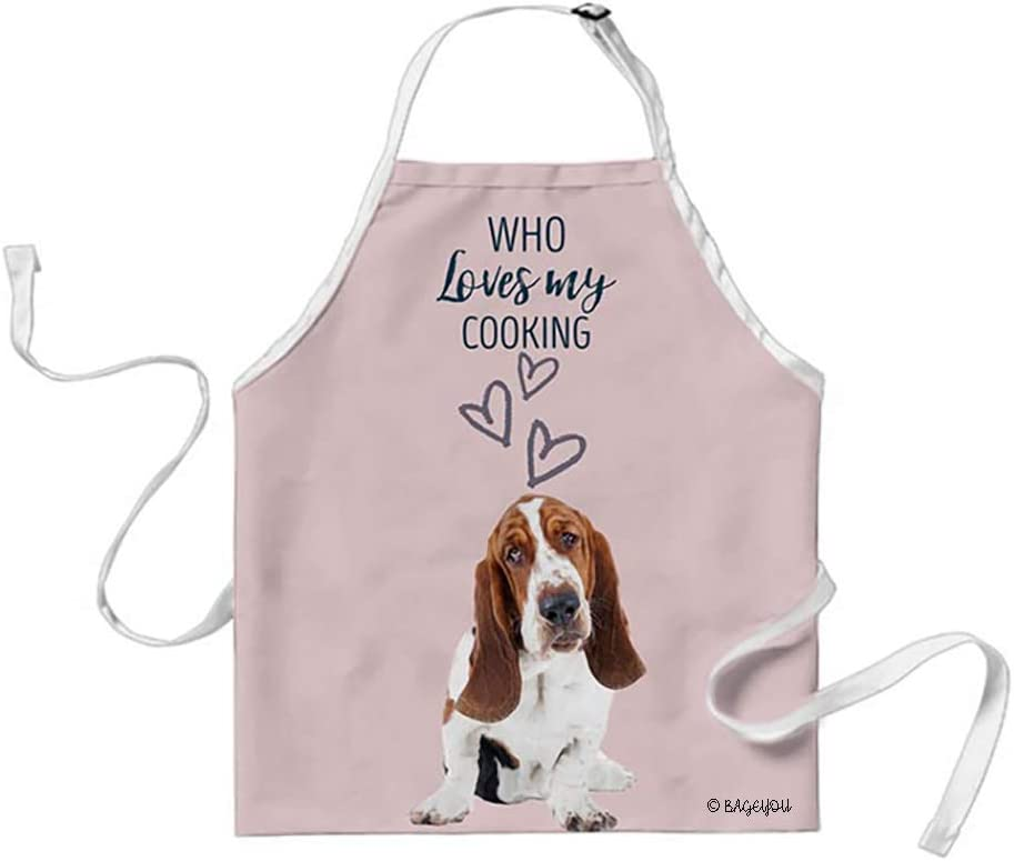 BAGEYOU Basset Hound Lovely Dog Cat Apron Who Loves My Cooking 29x34 Inch