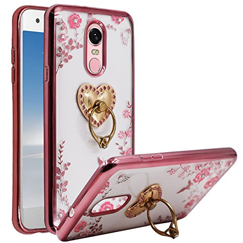 BestAlice for LG Q Stylus/Stylo 4/Q Stylus Plus Case, Slim Fit Soft Gel Jelly Clear Crystal Bling TPU Metal Plating Bumper Cover, Heart Ring ()