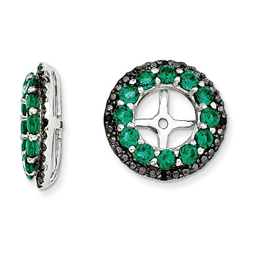 Sterling Silver Rhodium Created Emerald & Black Sapphire Earring Jacket by Jewels By Lux