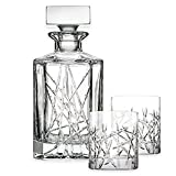 Top Shelf Graffiti 3-Piece Decanter Set, sparkling fine crystal glasses radiate beauty you will want to enjoy every day, Bold, modern cuts paired with European craftsmanship!