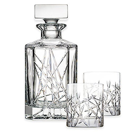 Top Shelf Graffiti 3-Piece Decanter Set, sparkling fine crystal glasses radiate beauty you will want to enjoy every day, Bold, modern cuts paired with European craftsmanship! by Top Shelf