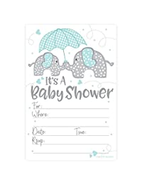 Blue Elephant Boy Baby Shower Invitations (20 Count) with Envelopes BOBEBE Online Baby Store From New York to Miami and Los Angeles