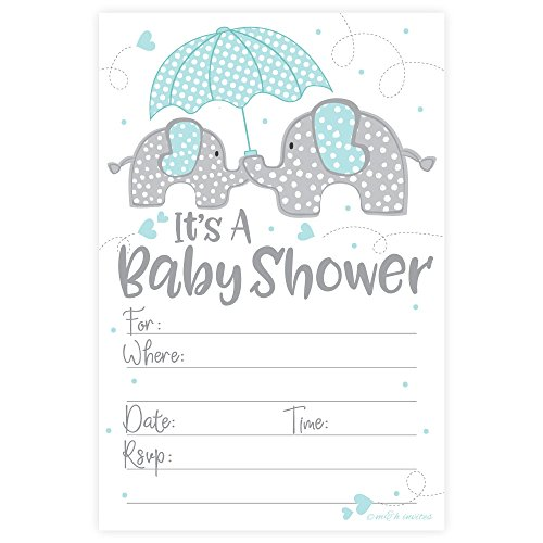 Blue Elephant Boy Baby Shower Invitations (20 Count) with Envelopes ()