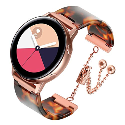 iWonow Band Compatible Samsung Galaxy Watch 42mm/ Watch Active, 20mm Women Resin Bracelet with Stainless Steel Buckle Replacement Strap for Garmin Vivoactive 3/3 Music, Ticwatch 2/E/C2 Black/C2 Silver