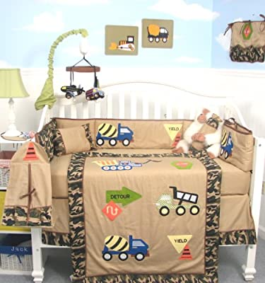 Soho Camouflage Trucks Baby Crib Nursery Bedding Set 13 Pcs Included Diaper Bag With Changing Pad Bottle Case from SoHo Designs