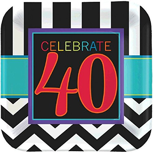 Must-Have Chevron and Stripes 40th Birthday Party Square Dessert Plates Tableware, Pack of 8, Multi, 7