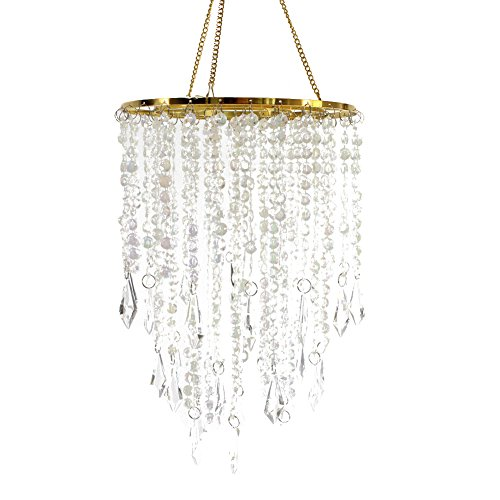 Hibuy Wedding Chandelier Centerpieces Acrylic Beaded Iridescent with Gold Frame -Drop 12.9 - Making Your Chandelier Own