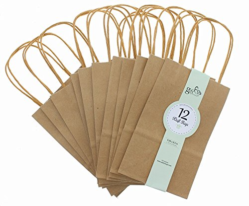 Brown Kraft Bag, Birthday Party Gift Favor Bag Set - 12 Coun