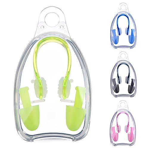 Fingertip WD 3 Pairs of Soft Silicone Swim Nose Clip + Ear Plugs Set for Swimming Comfortable for Adults and Kids