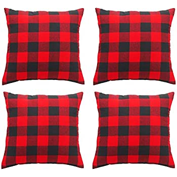 Awroutdoor Throw Pillow Covers Red Black Buffalo Check Plaids Christmas Pillow Cover 18x18 Inches Set of 4 Cotton Linen Cushion for Home Sofa Bedding Couch Decorative for Modern Simple Style Decor