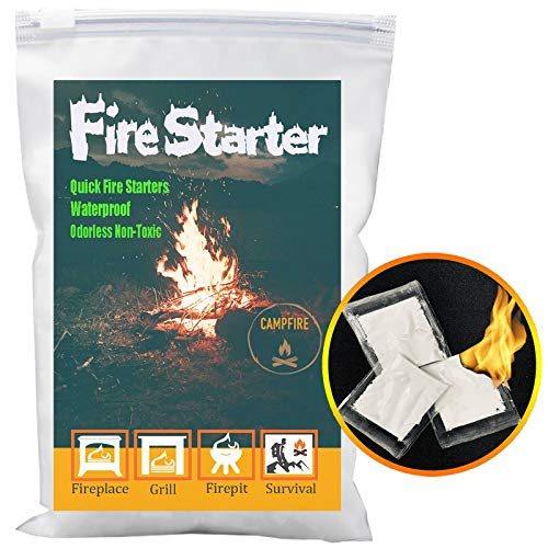 Fire Starter, Quick Instant Fire Starters,Waterproof All-Purpose Odorless and Non-Toxic Charcoal Starters BBQ Kindling Accessories 100 Pouches for Campfire,Grills,Charcoal,Fireplace,Firepits,Survival.