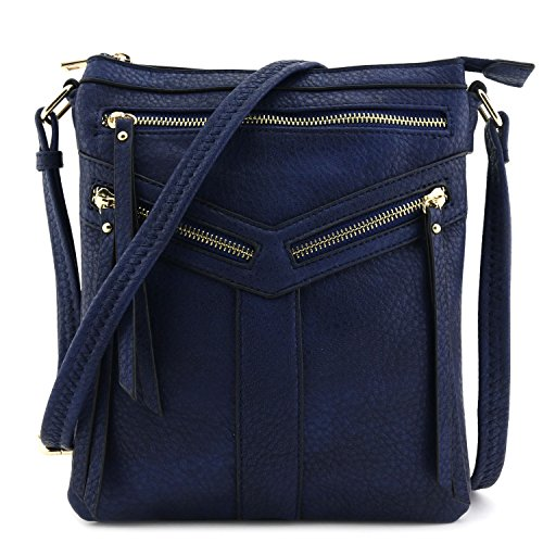 Compartment Double Navy with Bag Zipper Crossbody Accent qxwdCxZ6