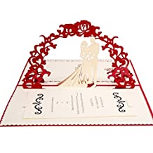 FriendShip Shop- Bridal Shower Invite Wedding Engagement Party Anniversary 3D Invitation Card Wedding Invitations (Color : Red)