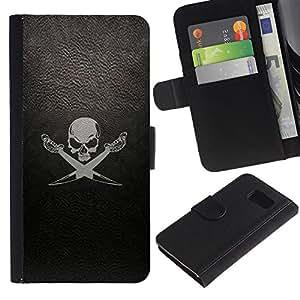 Samsung Galaxy S6 / SM-G920 Modelo colorido cuero carpeta tirón caso cubierta piel Holster Funda protección - Leather Black Sea Ship Flag Skull