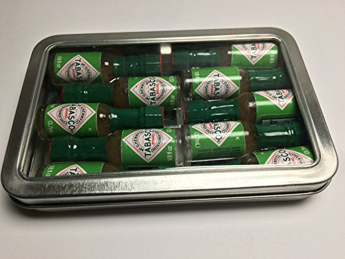 (Miniature Tabasco Gift Tin. Ten 1/8 Ounce Mini Bottles of Hard to Find Green Jalapeno Tabasco Pepper Sauce in a Hinged Tin with a Clear See Through Top.)