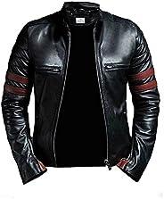 VearFit Hybrid Mayhem Hero Black PU Faux Leather Biker Jacket for Men
