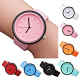 Women girl Simple Fashion Rome Number small dial Watches Quartz Canvas Belt Wrist Watch cute pink leather