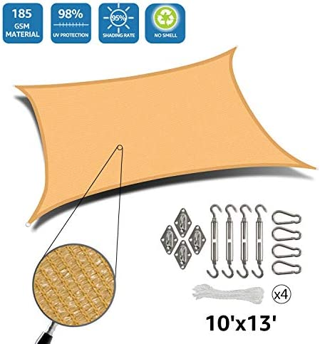 DOEWORKS Rectangle 10 X 13 Sun Shade Sail with Stainless Steel Hardware Kit, Idea for Outdoor Patio, Sand