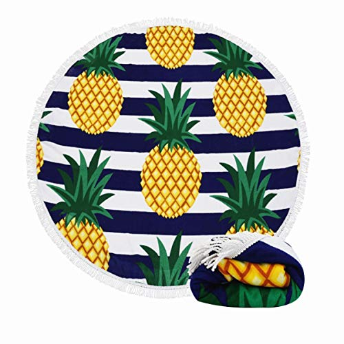Thick Round Beach Towel Blanket-Same Pattern Developed Quality 2019 New 100% Microfiber Terry Oversized Beach Towel 62 Inches with Tassels Pineapple Fruit (Best Quality Bath Towels 2019)