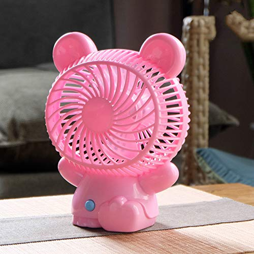 Huasen Cartoon Styling Fan USB Portable Fan Lovely Desk Handheld Fan-Pink