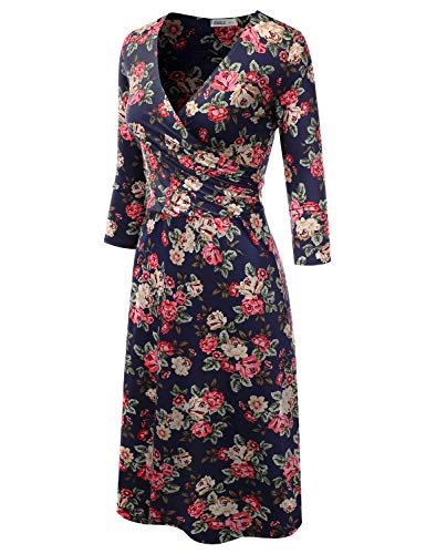 with Made for amp; Wrap Solid Plus in Doublju Women Size Line A Awdmd0217 Surplice Printed USA flowernavy Dress fBnOqv