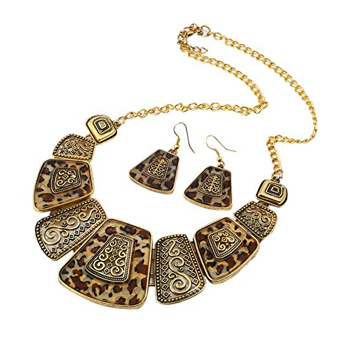 CYNDIE Women Ladies Retro Style Alloy Necklace Earrings Set Elegant Exquisite Jewelry Set