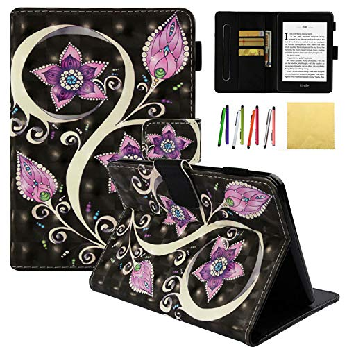 Kindle Paperwhite 2018 Case, Coopts 3D Emboss Standing Slim Shell Case Cover with Auto Wake/Sleep & Card Slots for Amazon Kindle Paperwhite (10th Generation, 2018 Releases), Peacock Flower