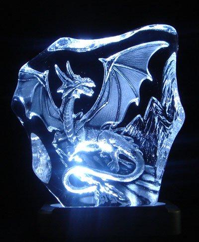 JJ's Engraved Lead Crystal Western Dragon on LED White Light Base