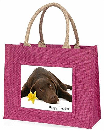 Advanta Happy Ostern Schokolade Labrador große Einkaufstasche/Weihnachtsgeschenk, Jute, pink, 42x 34,5x 2cm