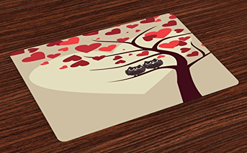 Lunarable Owls Place Mats Set of 4, Owl Couples Sitting on Branch Valentine Tree Valentines Day Anniversary Artwork, Washable Fabric Placemats for Dining Room Kitchen Table Decoration, Red Brown Ivory -